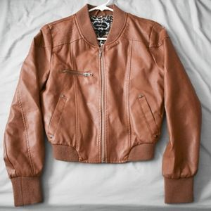 Scratched Brown Fake Leather Jacket
